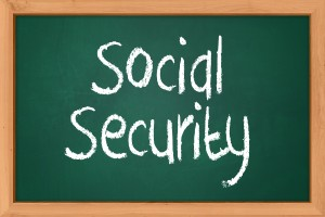 A blackboard with Social Security words, social security disability