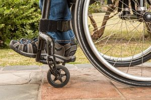 closeup a foot on wheelchair, social security