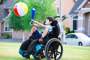 A disabled child is playing, children's disability benefits