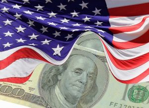 dollar with flag, social security